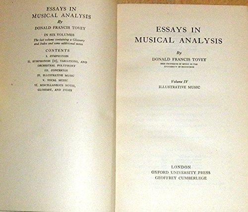 9780193151307: Essays in Musical Analysis, volume 4: Illustrative Music: Illustrative Music v. 4