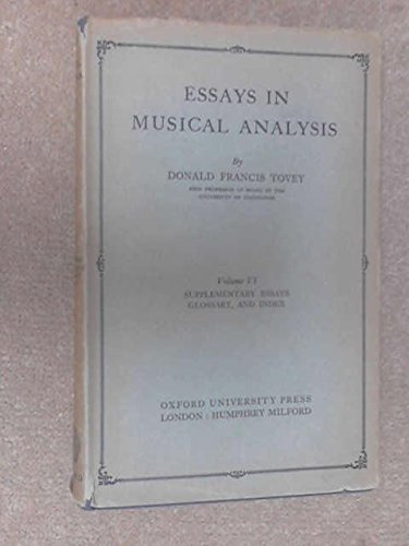 9780193151321: Essays in Musical Analysis: Supplementary Essays, Glossary and Index v. 6