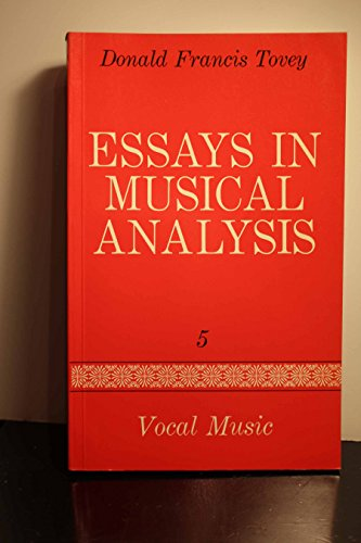 9780193151413: Essays in Musical Analysis, Vol. 5: Vocal Music