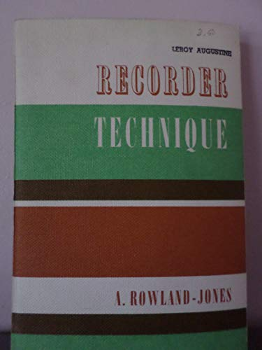 9780193186040: Recorder Technique