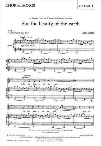 9780193415133: For the beauty of the earth: SA vocal score: SS (or SA) Vocal Score