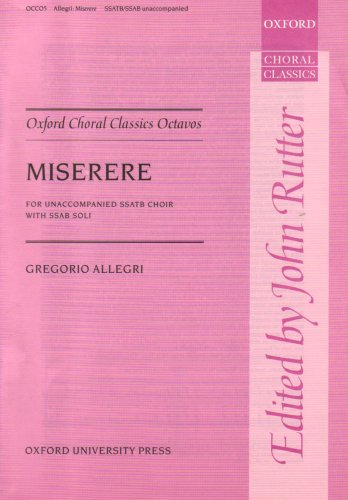 9780193417793: Miserere: Vocal score (Oxford Choral Classics Octavos)