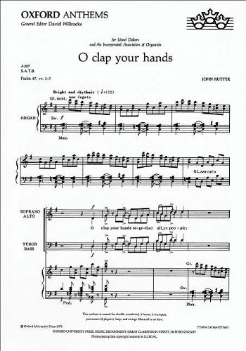 9780193503472: O clap your hands: Vocal score (John Rutter Anniversary Edition)
