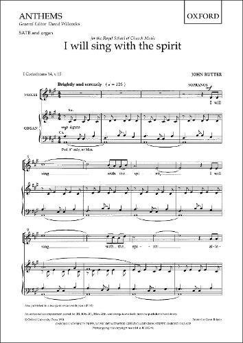 9780193504769: I will sing with the spirit: SATB vocal score