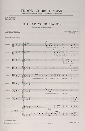 9780193804357: O clap your hands: Vocal score: For SSAATTBB and Optional Organ (Tudor Church Music)