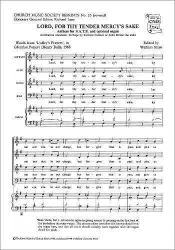 Lord, for Thy Tender Mercy's Sake (Church: Watkins Shaw