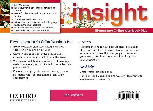 9780194014816: insight: Elementary: Online Workbook Plus - Card with Access Code