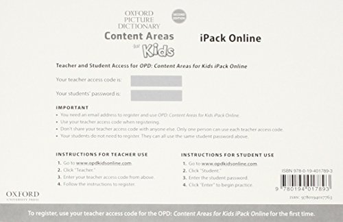 9780194017893: Oxford Picture Dictionary Content Area for Kids OPD: Content Areas for Kids iPack Online Access Card Pack