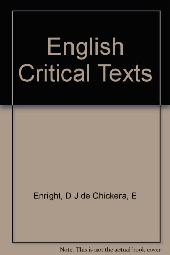 9780194167116: English Critical Texts