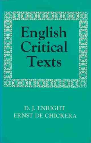 9780194167123: English Critical Texts: Sixteenth Century to Twentieth Century