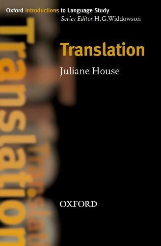 9780194389228: Translation (Oxford Introduction to Language Study Series)