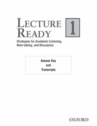 9780194417075: Lecture Ready 1 Answer Key: Strategies for Academic Listening, Note-taking, and Discussion (Lecture Ready Series)