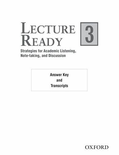 9780194417235: Lecture Ready 3: Answer Key/Script