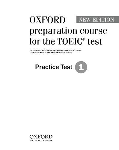 9780194564045: Oxford Preparation Course for the TOEIC® test: Practice Test 1 (Preparation Course for TOEIC Test)