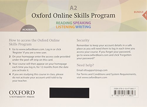 9780194719827: Oxford Online Skills Program: A2,: Academic Bundle 1 - Card with Access Code: Skills development aligned to the CEFR