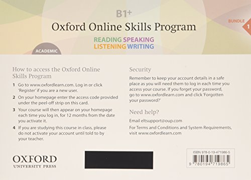 9780194719865: Oxford Online Skills Program B1+, Academic Bundle 1 - Card with Access Code: Skills Development Aligned to the CEFR
