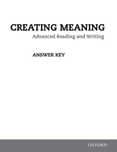 9780194723015: Creating Meaning: Answer Key Booklet