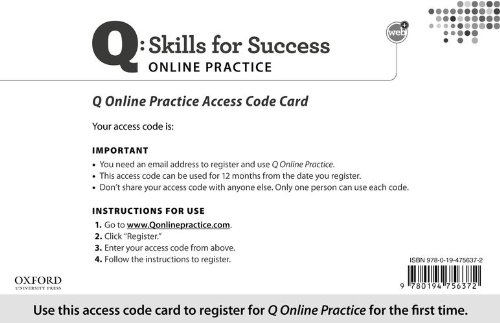 9780194756372: Q: Skills for Success Student Access Code Card (sold separately)