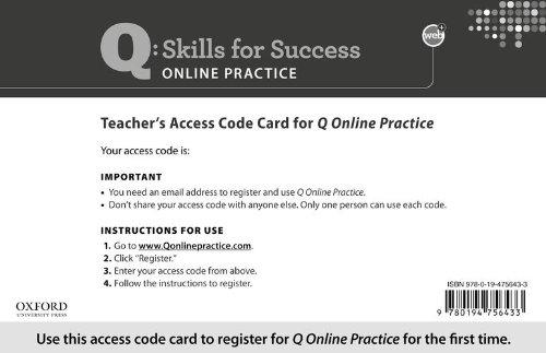 9780194756433: Q Online Practice Teacher Access Code Card