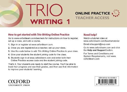 9780194854061: Trio Writing: Level 1: Online Practice Teacher Access Card: Building Better Writers...From The Beginning