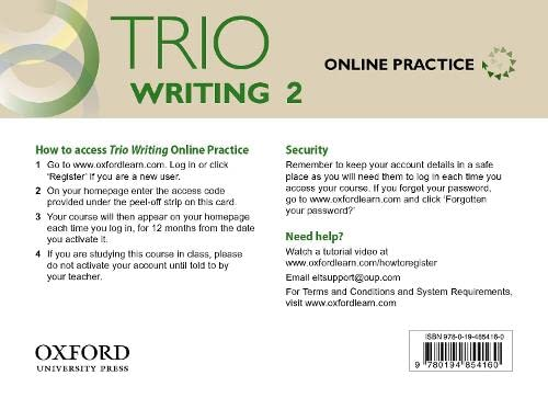 9780194854160: Trio Writing: Level 2: Online Practice Student Access Card: Building Better Writers.From The Beginning