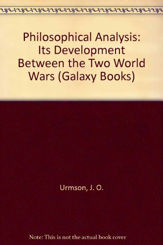 9780195002775: Philosophical Analysis: Its Development Between the Two World Wars (Galaxy Books)