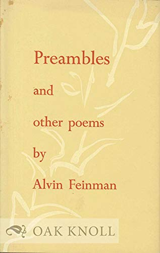 Preambles, and other poems: Feinman, Alvin