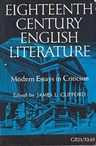 9780195006827: Eighteenth Century English Literature: Modern Essays in Criticism