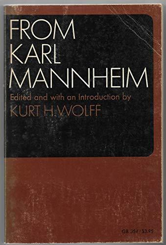 From Karl Mannheim Gb354: Wolff, Kurt H.,
