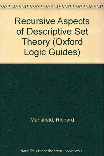 9780195036022: Recursive Aspects of Descriptive Set Theory (Oxford Logic Guides)