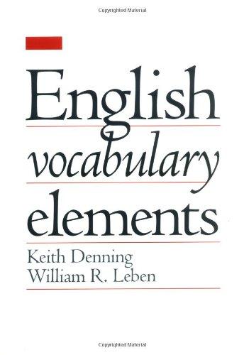 9780195066098: English Vocabulary Elements