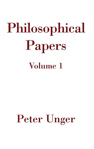 9780195155525: 1: Philosophical Papers: Volume One