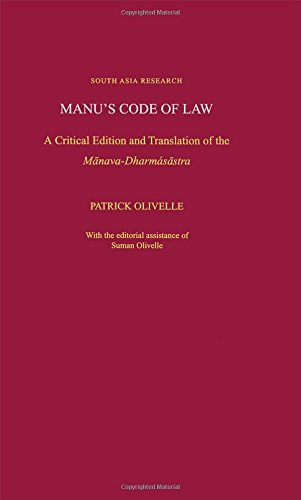 9780195171464: Manu's Code of Law: A Critical Edition and Translation of the M-anava-Dharmaś-astra (South Asia Research)