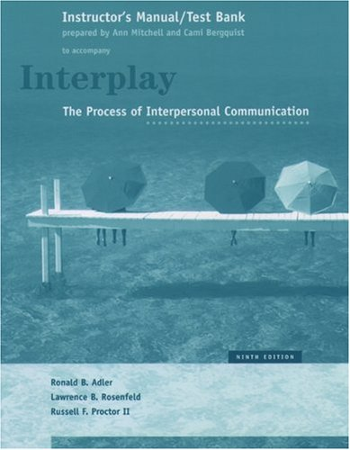 9780195171921: Interplay: The Process of Interpersonal Communication/Instructors Manual and Test Bank (to accompany the 9th edition of the textbook by Ronald B. Adler, Lawrence B. Rosenfield, and Russell F. Proctor II)
