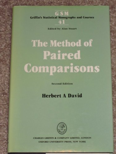 9780195206166: The Method of Paired Comparisons (Griffin's Statistical Monographs and Courses)