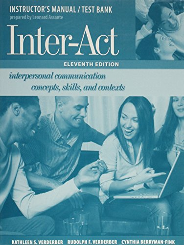 Inter-act Interpersonal Communication Concepts, Skills, & Contexts: Leonard assante