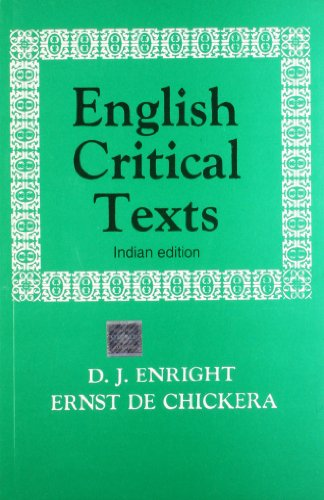 9780195606775: English Critical Texts: 16th Century to 20th Century