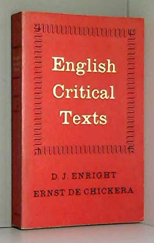 9780195701661: ENGLISH CRITICAL TEXTS: 16TH CENTURY TO 20TH CENTURY.
