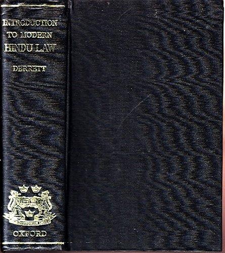 Introduction to Modern Hindu Law: Derrett, J. Duncan