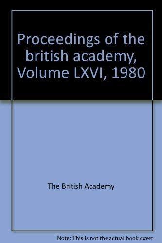 British Academy Proceedings 1980 (Hardback): British Academy