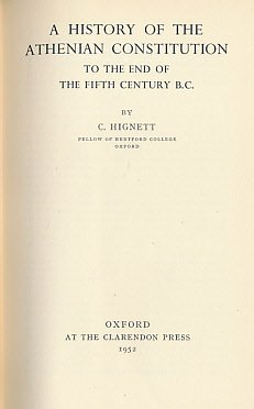 9780198142133: History of the Athenian Constitution to the End of the Fifth Century B.C.