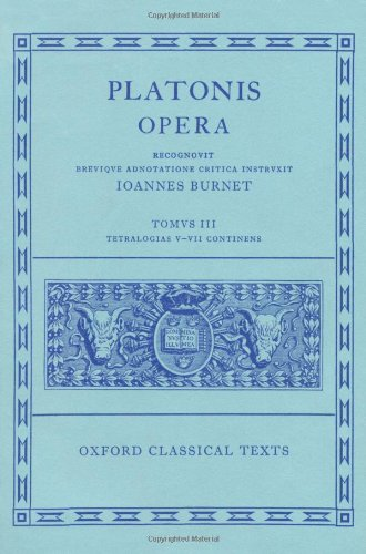 9780198145424: Platonis Opera, Vol. 3: Tetralogiam V-VII Continens (Oxford Classical Texts) (Greek Edition)