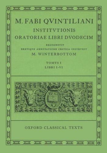 9780198146544: Quintilian Institutionis Oratoriae Vol. I: 1