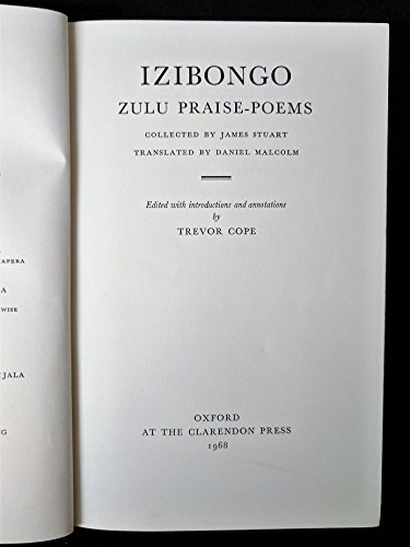Izibongo: Zulu Praise Poems: Stuart, James; Cope,