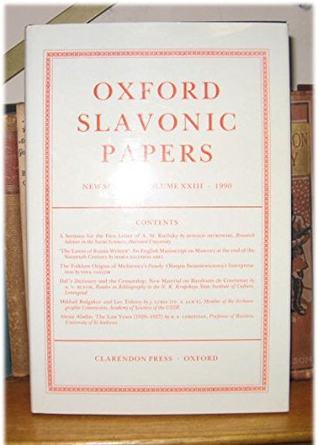 9780198151678: Oxford Slavonic Papers: Volume 23 (Oxford Slavonic Papers New Series)