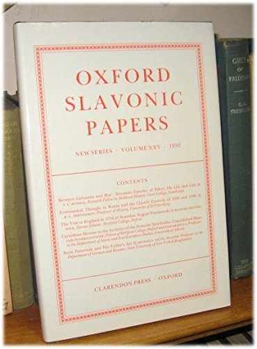 9780198156703: Oxford Slavonic Papers, New Series: Volume XXV