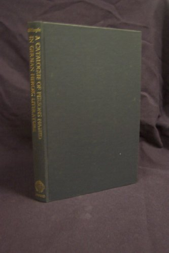 9780198157182: Catalogue of Persons Named in German Heroic Literature, 700-1600: Including Named Animals and Objects and Ethnic Names