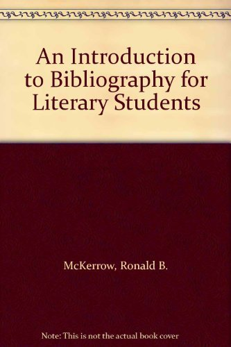 9780198181033: An Introduction to Bibliography for Literary Students