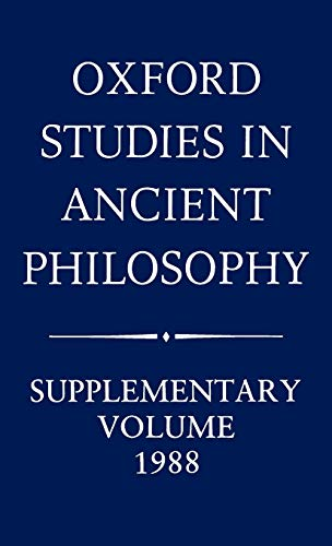 9780198244769: Oxford Studies in Ancient Philosophy: Supplementary Volume 1988