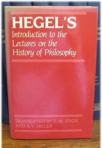9780198246688: Introduction to the Lectures on the History of Philosophy